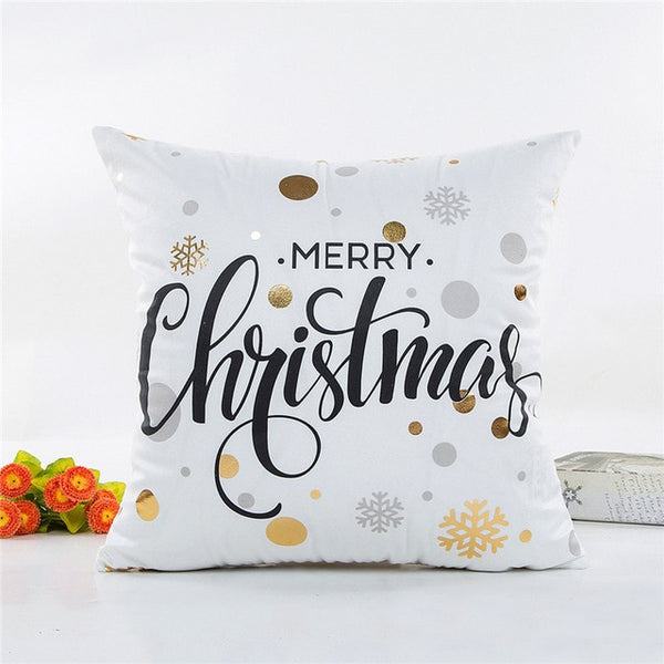 MIHE Cushion Cover 45*45cm Gold Linen Cotton Soft Throw Pillow Cover Sofa Pillowcase Merry Christmas Decorations For Home BZT18