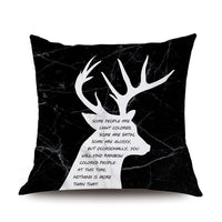 Pillows Cases Nordic Marble Geometric Cushion Cover Deer Pink Black Soft Peach Skin for Sofa Home Decoration Accessories 45x45cm