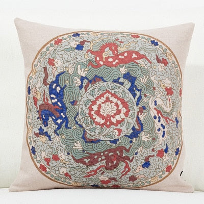 Chinese Retro Flower Pillow Cover Geometric Floral Cushion Cover Home Decorative Linen Pillow Case Sofa Chair Waist Pillow cover