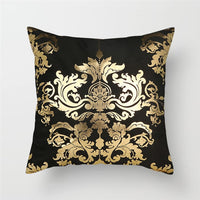 Fuwatacchi Black Gold Foil Linen Cushion Cover Leaf Flowers Diamond Pillow Cover for Home Chair Sofa Decorative Pillows 45*45cm