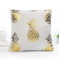 Fuwatacchi Merry Christmas Cushion Cover Decorative Gold Foil Leaves Wave Pillowcase Home Chair Sofa Kiss Circle Pillow Cover