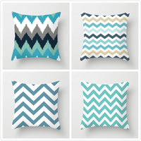 Fuwatacchi Simple Blue Geometry Cushion Cover Wavy Arrow Pillow Cover Polyester Peachskin Pillow Case For Home Sofa Decoration
