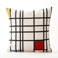 Mondrian Geometry Pillow Cover Blue Red Geometric Cushion Cover Home Decorative Linen Pillow Case Office Sofa Cushion