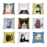 Hot Sale Boxing Cats White Throw Pillow Cases Geometric Patterns Printed Home Decor Cute Room Polyester Peach Skin Cushion Cover