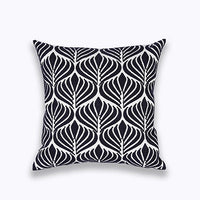 Home Decor Emboridered Cushion Cover Blue Zigzag Geometric Canvas Pillow Case Cotton Suqare Embroidery Pillow Cover 45x45cm