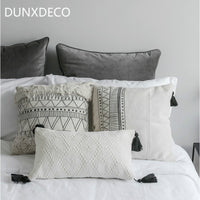 DUNXDECO Cushion Cover Decorative Pillow Case Nordic Geometric White Black Lines Tassels Modern Home Office Sofa Chair Decor