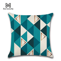 New Nordic Geometric Blue Print 45*45cm Cushion Cover Linen Throw Pillow Car Home Decoration Decorative Pillowcase