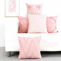 Decorative Throw Pillow Case Cover Pink Geometric Pattern Cushion Cover Decoration For Girl Bedroom Sofa Car Funda Cojines 45x45