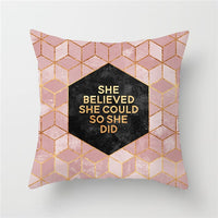 Fuwatacchi Nordic Style Cushion Cover Pink Geometric Print Pillow Case Home Decorative Pillows Cover Home Decoration Accessories
