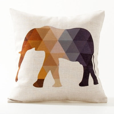 Europe Elephant Deer Geometric Pillow Cushion Cover Pillow Case Home Decorative Pillow Thick Linen Pillowcase Sofa Cushion