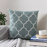 Moroccan Embroidered Cushion Cover Grey Black Blue Pillowcase Canvas Cotton Square Embroidery Pillow Cover 45x45cm  Home Decor