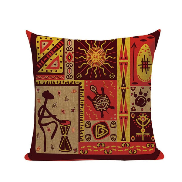 African Woman Cushion Cover Dancing Lady Africa Geometric Pillow Covers Pillow Cases Color Cloth Bedroom Sofa Decoration Ethnic