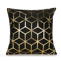 European Style Bronzing Cushion Cover Velvet Gold Foil Printed Cushion Cover Geometric Throw Pillow Case Home Decoration 18 Inch