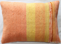 (35*50cm, 14*20inch) Handwoven kilim pillow cover pastel orange & yellow