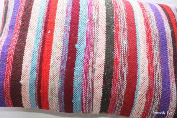(35*50cm, 14*20inch) Boho Handwoven kilim pillow cover pink purple red