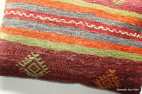 (35*50cm, 14*20inch) Handwoven kilim pillow cover striped red green distressed 1