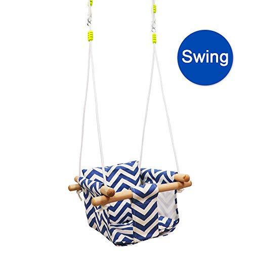 Pink Canvas Hanging Swing with Soft Cotton Cushions and Beautiful Lace,Indoor&Outdoor Hammock Toy for Toddler Girls