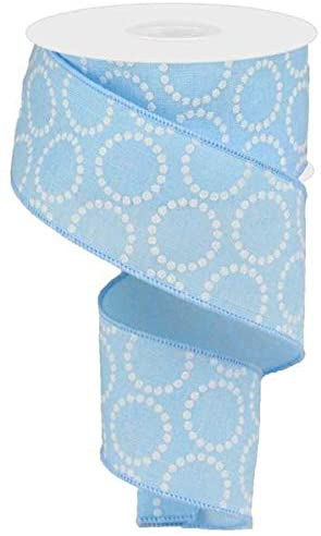 "Pearl Beads Circles Canvas Wired Edge Ribbon - 10 Yards (Pale Blue, 2.5"")"