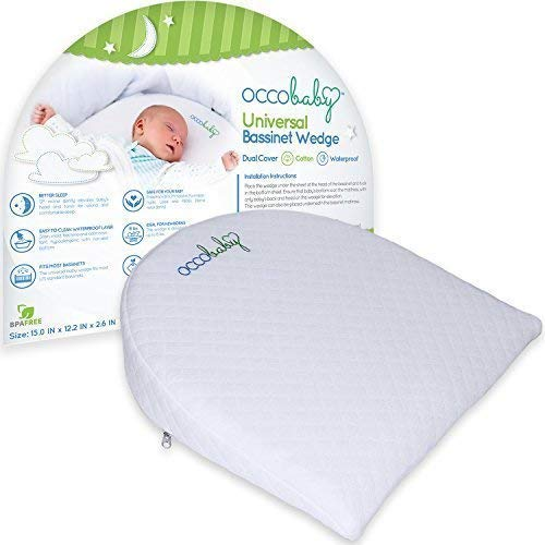 OCCObaby Universal Bassinet Wedge | Waterproof Layer & Handcrafted Cotton Removable Cover | 12-Degree Incline for Better Night's Sleep…