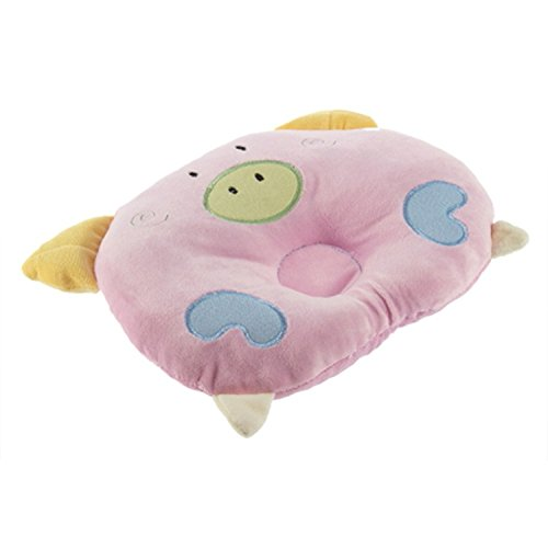 Liroyal soft Cotton piggy Pig Shaped baby newborn Infant Toddler Sleeping Support Pillow Prevent Flat Head Flathead GIFT Pink