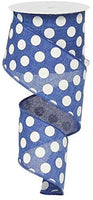 "Polka Dot Canvas Wired Edge Ribbon - 2.5"" x 10 Yards (Light Blue, White)"