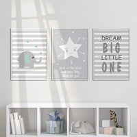 "UrbanStyle Boutique Premium Nursery Print Canvas Art (Set of 3-UNFRAMED) 12"" x 16""-Elephant Star Dream Big Little One Inspiration Decor Baby Boy Girl Room"