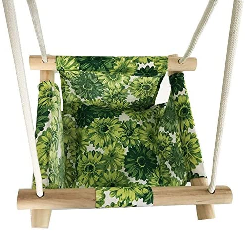 ebookshop NH Green - Baby Swing Hammock Seat Set Canvas Hanging Chair with Cushion Todder Outdoor Indoor Garden Wooden Swing Rocker Load Bearing 50kg