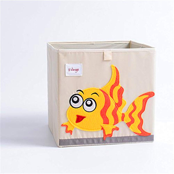 Foldable Storage Bins-Cartoon Toy Storage Box,Canvas Storage Cube for Baby Chest Basket Organizer Box (Pig)