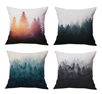 The Foggy and Sunshine Forest Trees Throw Pillow Covers Set Cushion Covers Home Decoration Cotton Linen 18 x 18 Inch Set of 4