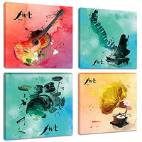 Colorful Music Wall Art Paintings Pop Watercolor Canvas Print Pictures for Bedroom Living Room Decor Artwork, Framed Ready to Hang