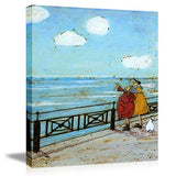 "Picabala Vintage Warm Canvas Painting Wall Art-Couple by The Sea Blue Decorative Picture Framed and Stretched Canvas Prints Romantic Ancient Life Oil Painting Ready to Hang-12""x16""(Framed)"