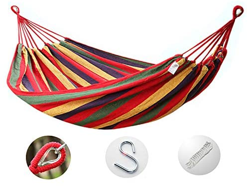 Single and Double Hammock Chair Hanging Rope Swing Max 600 Lbs Cotton Fabric Canvas for Indoor Outdoor Garden Patio Porch Student Dormitory Rollover (Send Rope Storage Bag Hook)