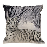 HGOD DESIGNS Throw Pillow Case Woodland Deer Head Cotton Linen Square Cushion Cover Standard Pillowcase for Men Women Home Decorative Sofa Armchair Bedroom Livingroom 18 x 18 inch
