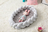 "LOAOL Baby Crib Nest Bed Newborn Lounger Sleeper Knotted Braided Infant Nursery Decor Cradle Bumper (Gray, 17.7"" x 23.6"")"