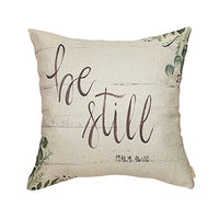 "Fjfz Be Still Greenery Floral Retro Country Style Farmhouse Décor Spring Summer Decoration Gift Cotton Linen Home Decorative Throw Pillow Case Cushion Cover with Words for Sofa Couch, 18"" x 18"""