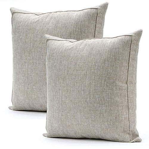 Jepeak Burlap Linen Throw Pillow Covers Cushion Cases, Pack of 2 Farmhouse Modern Decorative Solid Square Thickened Pillow Cases for Sofa Couch (Baby Blue, 20 x 20 inches)