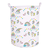 "Runtoo 19.7"" Large Sized Laundry Hamper Waterproof Foldable Canvas Unicorn Animals Theme Bucket Clothing Laundry Basket with Handles for Storage Bins Kids Room Home Organizer Nursery Baby Storage"