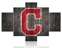 TUMOVO Black and White Painting on Canvas Chicago Cubs Logo Picture Rustic Wooden Wall Art Major League Baseball Artwork Home Decor Living Room Framed Gallery-Wrapped Ready to Hang (60Wx32H inches)