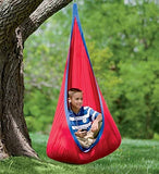 Red Hugglepod Deluxe Hanging Cocoon Chair Hammock Nest with Removable Cushion Cotton Canvas Fabric Machine Washable 175 LBS Max Weight