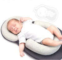 Grumpy Cloud Portable Baby Bed Anti Roll Pillow for Infant 0-24 Months (Gray)