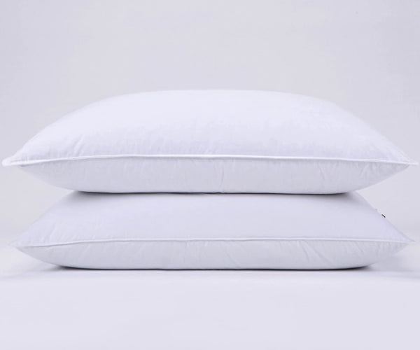 puredown Natural Goose Down Feather White Pillow Inserts, 100% Egyptian Cotton Fabric Cover Bed Pillows, Set of 2 King Size