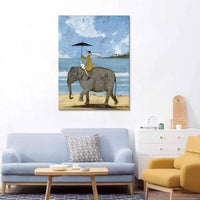 "Picabala Vintage Blue Canvas Giclee Print Wall Art-The Man on Elephant Decorative Painting Realistic Figure Picture Framed Modern Shabby and Chic Wall Painting for Home Office Decor-20""x28""(Framed)"