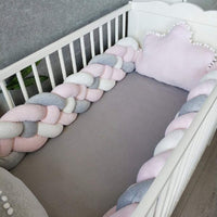Infant Soft Braid Crib Bumper Pads Knot,(4 Strands,Widening) Pillow Cushion Cradle Decor for Baby Girls and Boys(157 Inch/4M, Gray+White+Pink)