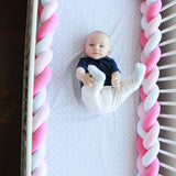 Baby Crib Bumper Knotted Braided Plush Nursery Cradle Decor Newborn Gift Pillow Cushion Junior Bed Sleep Bumper Navy 156 inch