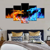 Animal Canvas Wall Art Abstract Dragon Paintings Blue and Red Fire Pictures for Living Room Multi Panel Prints Artwork on Canvas Modern Home Decor Framed Gallery-Wrapped Ready to Hang(60''Wx32''H)