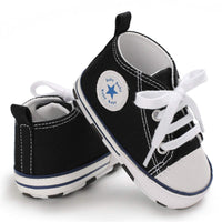 Sakuracan Baby Shoes Boys Girls Toddler High-Top Ankle Canvas Sneakers Soft Sole Newborn Infant First Walkers Crib Shoes