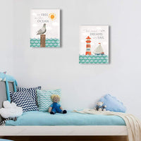 HPNIUB Nautical Art Prints, Inspirational Quotes Seascape Painting Set of 3 Pieces (11.8x15.6inch) Canvas Animal Lighthouse Sea Wave Poster with Framed Ready to Hang for Ocean Themed Bedroom Nursery