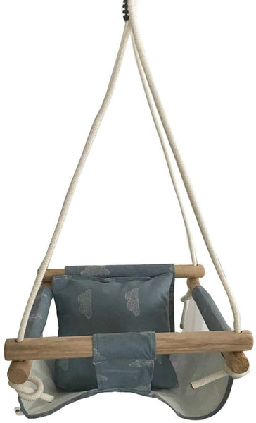 Hammock Chair Baby Swing Hammock Seat Set Canvas Hanging Chair with Cushion Outdoor Indoor Garden Wooden Swing Rocker Load Bearing 50Kg,Blue