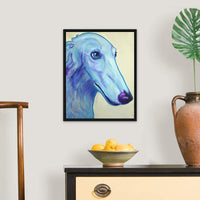 "Baby Blue Borzoi Black Floating Frame Canvas Art, 18""x22""x1.75"""