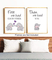 Kairne Cute Baby Elephant Watercolor Art Print, Set of 3 Balloon Elephant Family Love Quote Wall Art Poster, Living Room Bedroom Home Decor Nursery Art Canvas,Unframed 8x10 Inch